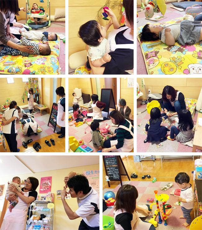 キッズルームで遊ぶスタッフと子どもたち